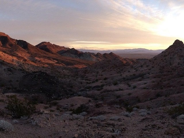 photo of desert mountains at sunset