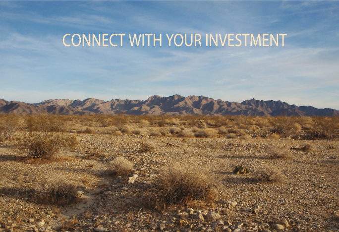 Photo of desert mountains. Connect with your investment.