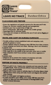 photo of a card with Leave No Trace guidelines