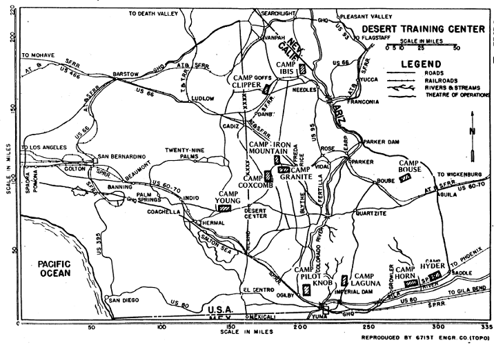 map of desert training centers from World War 2