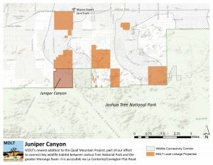 map of Juniper Canyon Preserve and wildlife linkage corridor