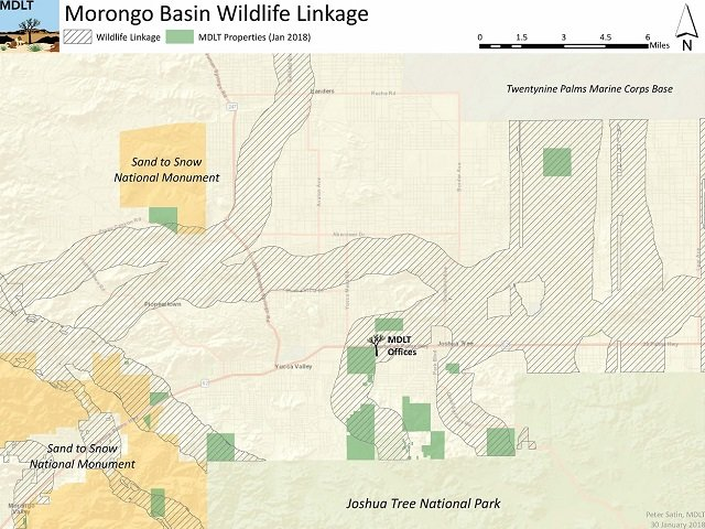 photo of a map showing wildlife linkages in Morongo Basin