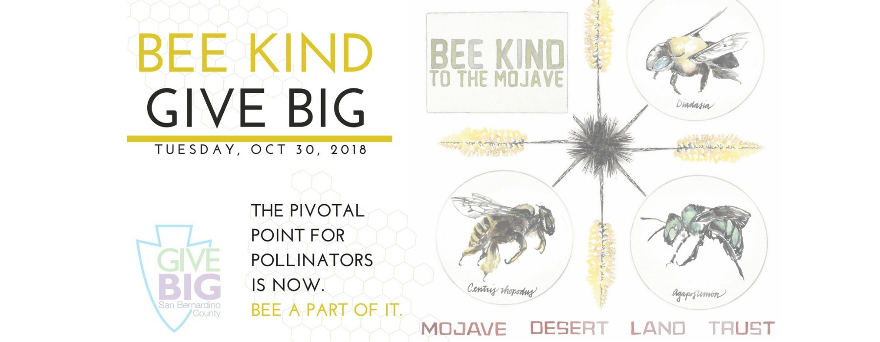 A photo of the Give Big 2018 Bee Kind Logo