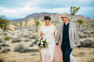 A photo of a couple married in Joshua Tree